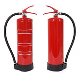 front and back view of fire extinguisher