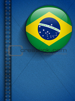 Brazil Flag Button in Jeans Pocket