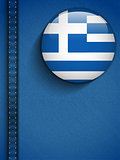 Greece Flag Button in Jeans Pocket