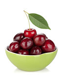 Ripe cherries in a bowl