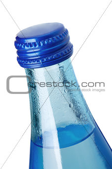 Glass bottle of soda water, closeup