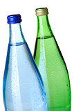 Two bottles of soda water, closeup
