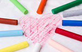 Draw a heart with a crayon