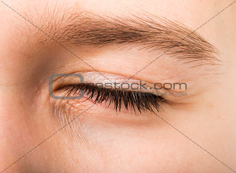 Closed human eye