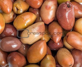 Greek olives preserved