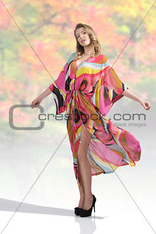 sexy woman with colorful dress