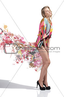 sensual girl with colorful long dress in painting