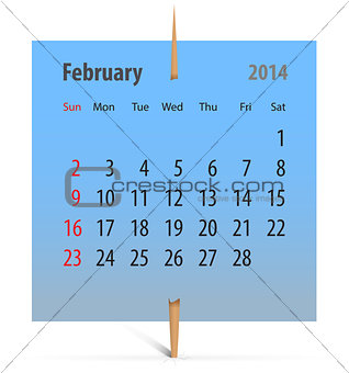 Calendar for February 2014
