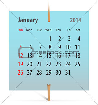 Calendar for January 2014