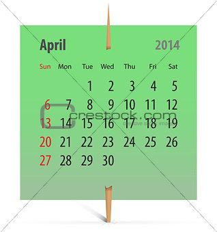 Calendar for April 2014