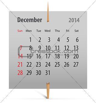 Calendar for December 2014