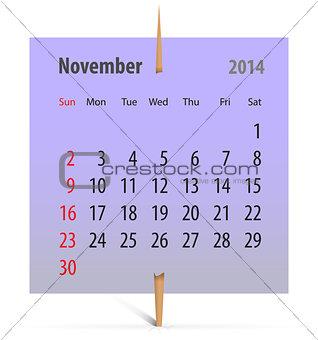 Calendar for November 2014