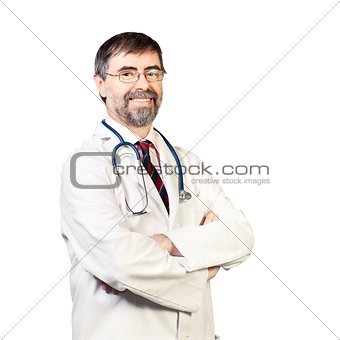Portrait of happy middle-aged doctor with stethoscope. on a whit