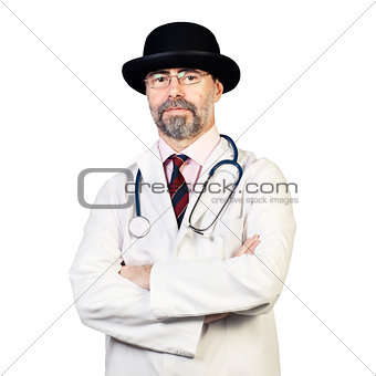 Portrait of happy middle-aged doctor in a hat with stethoscope.