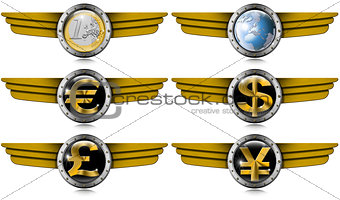 Euro Dollars Pound Yen Metal Wings