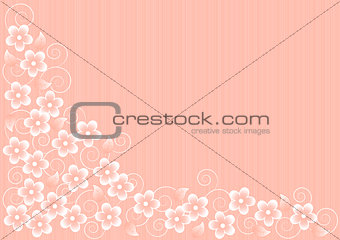 Abstract Pink Background with Flowers