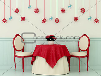 Chairs and a table with Christmas decorations