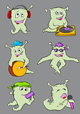 Cute cartoon aliens musicians