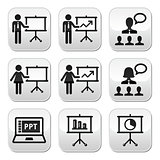 Business presentation, lecture, speech vector buttons