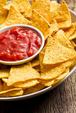 corn nachos with tomato dip