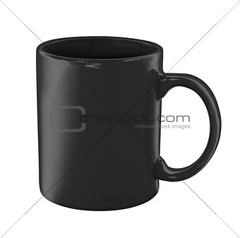 black coffee cup isolated with clipping path included