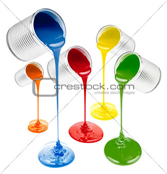 colorful liquid paints poured out isolated