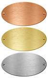 Silver, gold and bronze metal ellipse plates isolated with clipp