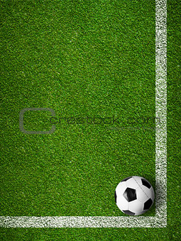 Soccer ball framed by white marking lines top view. Sport backgr