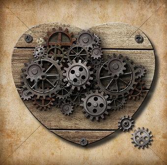 Aged human heart model made of rusty metal gears