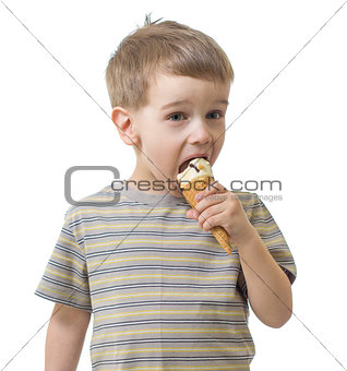 kid boy eating ice cream isolated on white studio shot