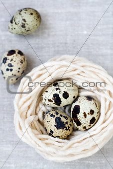 Three quail eggs in the nest with the thread
