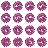 Retro stylized vector violet sale, new and mid season icons or tag stickers