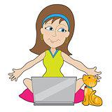 Happy Laptop Lady