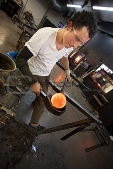Man Working with Hot Glass