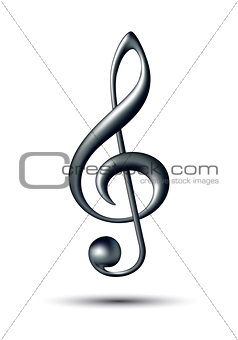 Treble clef isolated on white background.