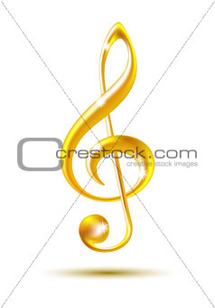 Gold treble clef isolated on white background.