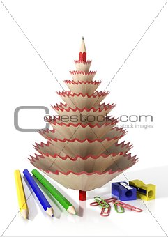 Render of office supplies and a tree made with a pencil shavings