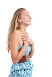 Happy blonde teenager girl laughing