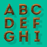 Wooden polygonal alphabet, vector Eps10 illustration.