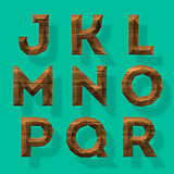 Wooden polygonal alphabet, vector Eps10 illustration.