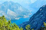 Bay of Kotor summer misty view from up  (Montenegro)