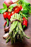 Fresh green asparagus and vegetables