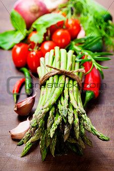 Fresh green asparagus and vegetables