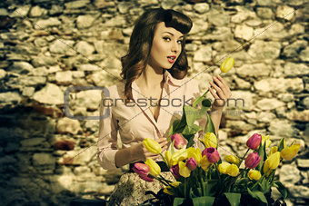 sensual vintage woman with tulips