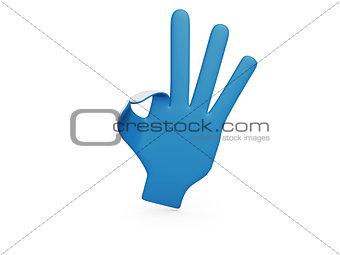 blue paper hand okey