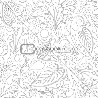 Outlined floral pattern