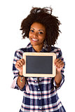 Female afro american with blank chalkboard