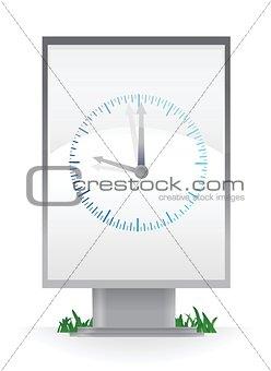 Clock on advertising billboard