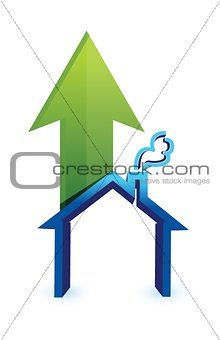 Arrow with house. rising prices in housing market