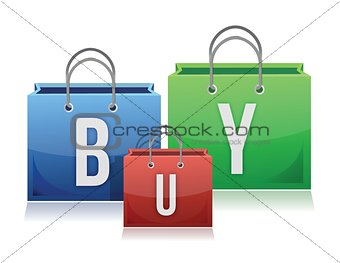 Three colorful shopping bags with the text buy